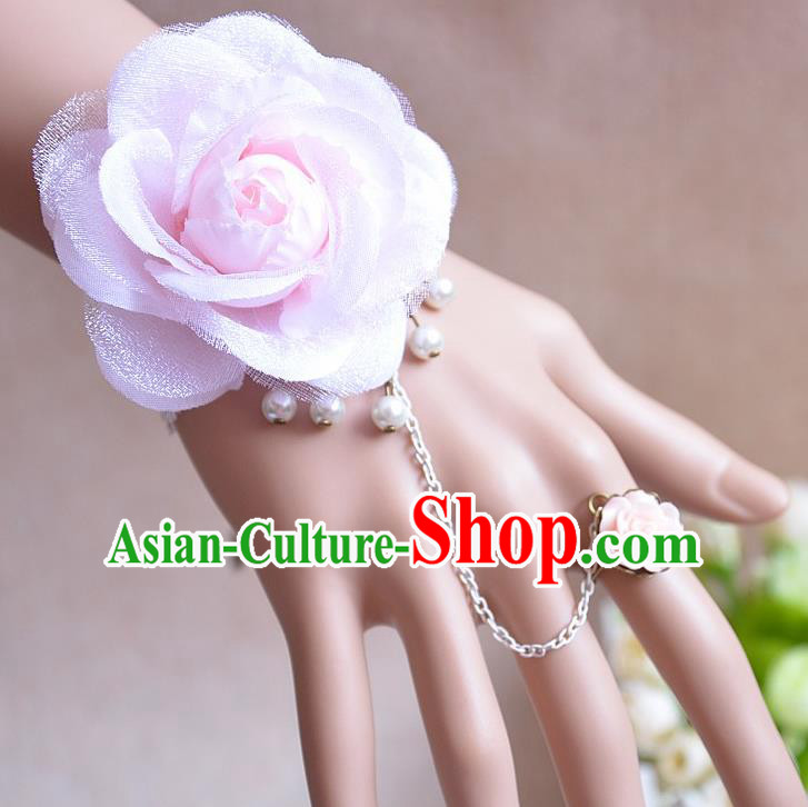 European Western Vintage Jewelry Accessories Renaissance Pink Flower Bracelet with Ring for Women