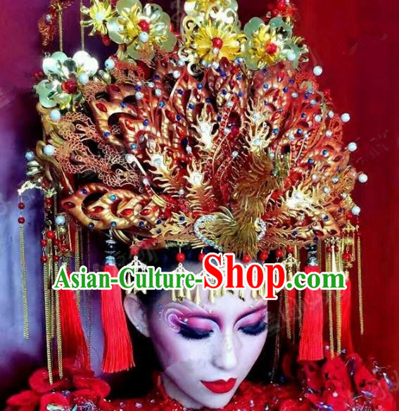 Chinese Handmade Classical Wedding Hairpins Ancient Hanfu Bride Exaggerated Phoenix Coronet Hair Accessories for Women