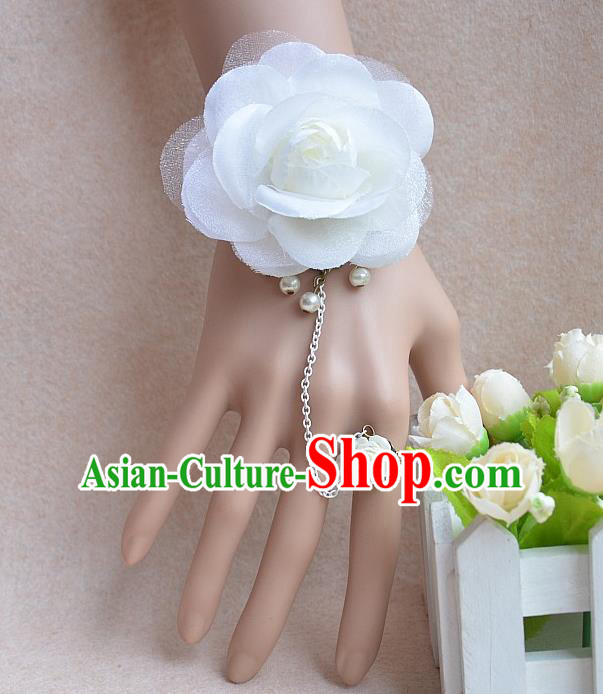 European Western Vintage Jewelry Accessories Renaissance White Flower Bracelet with Ring for Women