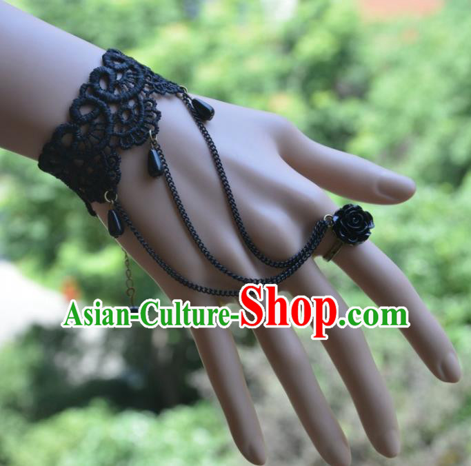 European Western Vintage Jewelry Accessories Renaissance Black Lace Bracelet with Ring for Women