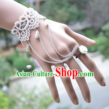 European Western Vintage Jewelry Accessories Renaissance White Lace Bracelet with Ring for Women