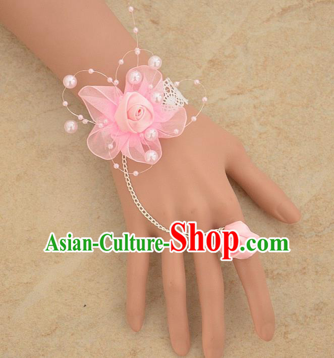 European Western Bride Vintage Jewelry Accessories Renaissance Pink Flower Bracelet with Ring for Women