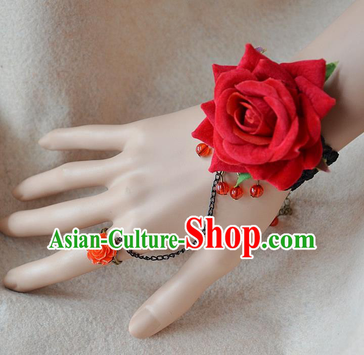 European Western Bride Vintage Jewelry Accessories Renaissance Red Rose Bracelet with Ring for Women