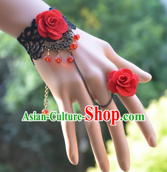 European Western Bride Vintage Jewelry Accessories Renaissance Black Lace Flower Bracelet with Ring for Women