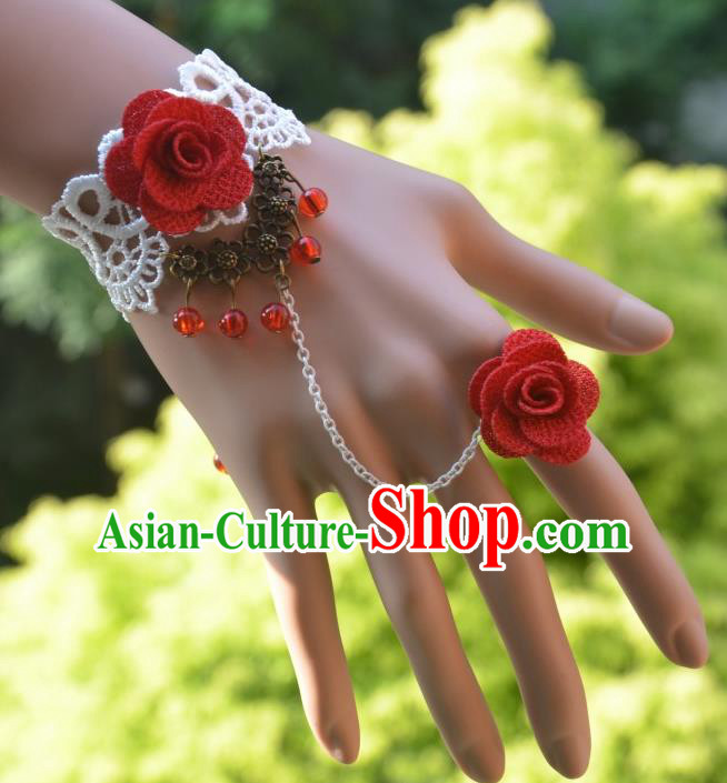 European Western Bride Vintage Jewelry Accessories Renaissance White Lace Flower Bracelet with Ring for Women