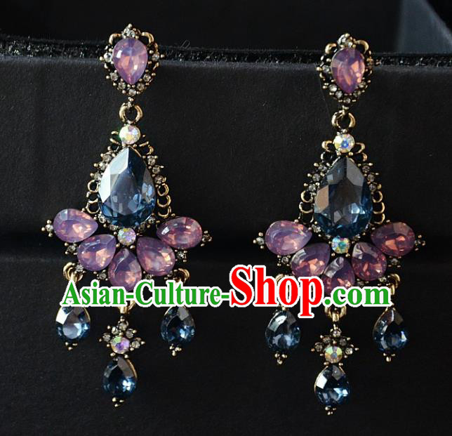 European Western Bride Vintage Jewelry Accessories Renaissance Crystal Earrings for Women