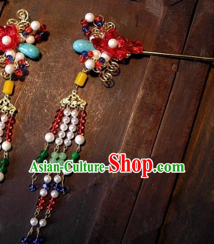 Chinese Handmade Classical Hairpins Ancient Hanfu Bride Step Shake Hair Accessories for Women