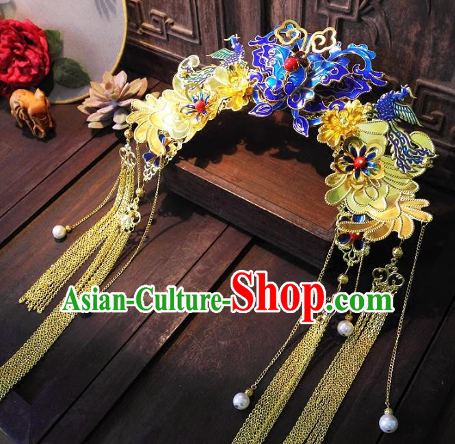 Chinese Handmade Classical Hairpins Ancient Hanfu Cloisonne Phoenix Coronet Hair Accessories for Women