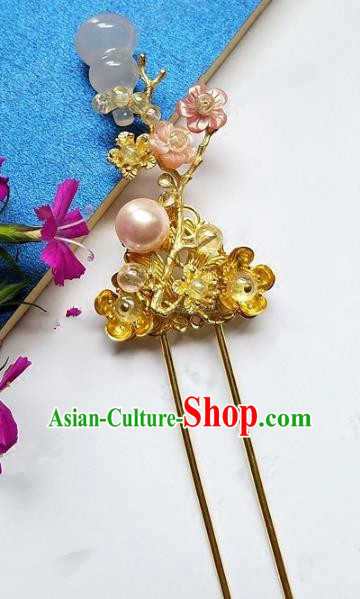 Chinese Handmade Classical Calabash Hairpins Ancient Hanfu Headdress Hair Accessories for Women