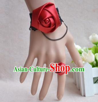 European Western Bride Vintage Jewelry Accessories Renaissance Wine Red Satin Bracelet and Ring for Women