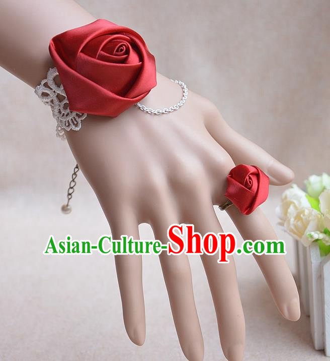 European Western Bride Vintage Jewelry Accessories Renaissance Red Satin Bracelet and Ring for Women