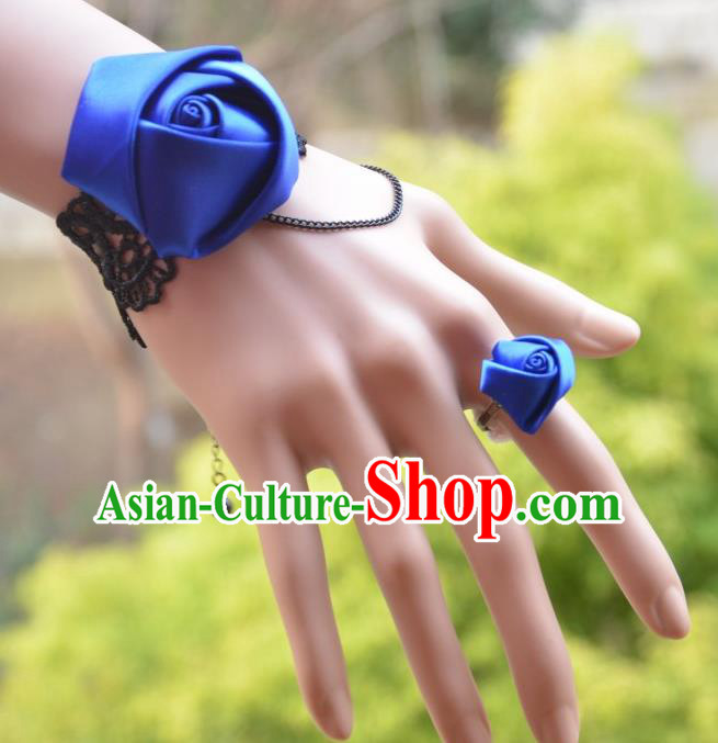 European Western Bride Vintage Jewelry Accessories Renaissance Blue Satin Bracelet and Ring for Women