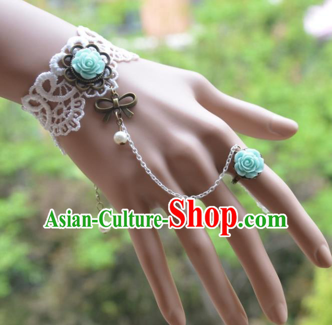 European Western Bride Vintage Jewelry Accessories Renaissance Green Rose Bracelet with Ring for Women