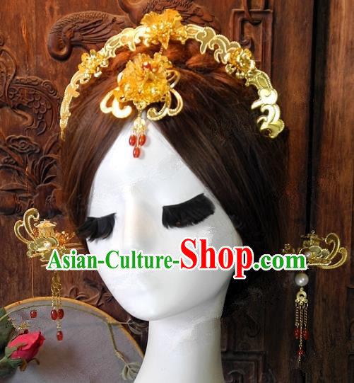 Chinese Handmade Classical Hairpins Ancient Hanfu Hair Clasp Headdress Hair Accessories for Women