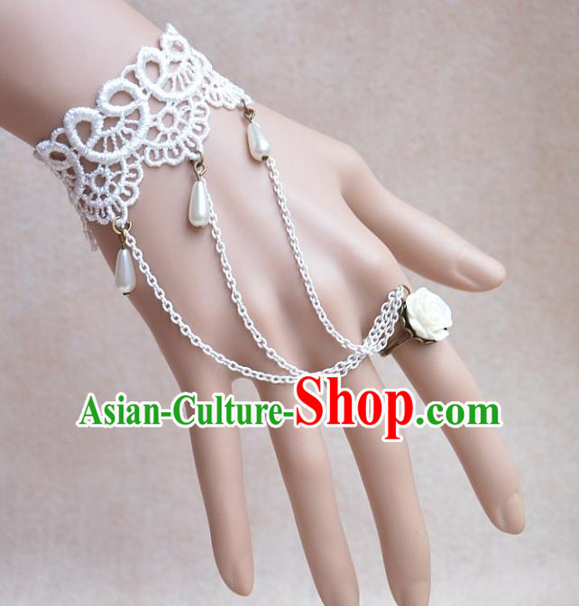 European Western Bride Vintage Jewelry Accessories Renaissance White Lace Bracelet with Ring for Women