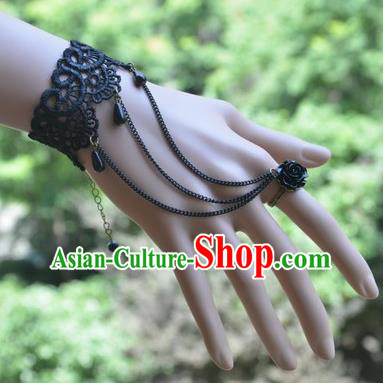 European Western Bride Vintage Jewelry Accessories Renaissance Black Lace Bracelet with Ring for Women