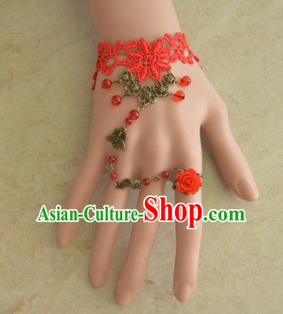 European Western Bride Vintage Jewelry Accessories Renaissance Red Lace Bracelet with Ring for Women