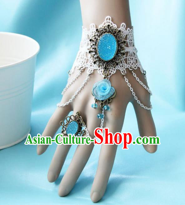 European Western Bride Vintage Jewelry Accessories Renaissance Bohemia Bracelet with Ring for Women