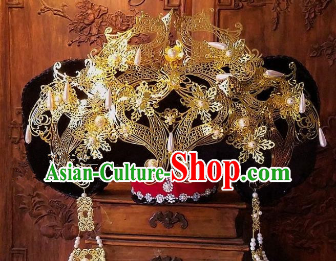 Chinese Handmade Classical Qing Dynasty Phoenix Coronet Ancient Hanfu Headdress Hair Accessories for Women