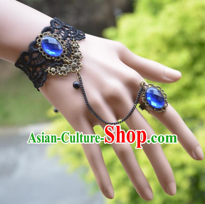 European Western Bride Vintage Accessories Renaissance Blue Crystal Lace Bracelet with Ring for Women