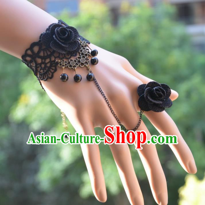 European Western Bride Vintage Jewelry Accessories Renaissance Black Flower Bracelet with Ring for Women
