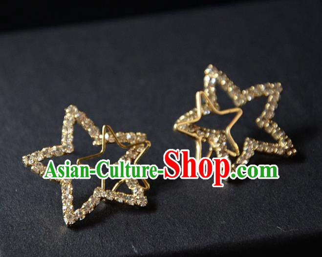 European Western Bride Vintage Accessories Eardrop Renaissance Golden Crystal Star Earrings for Women