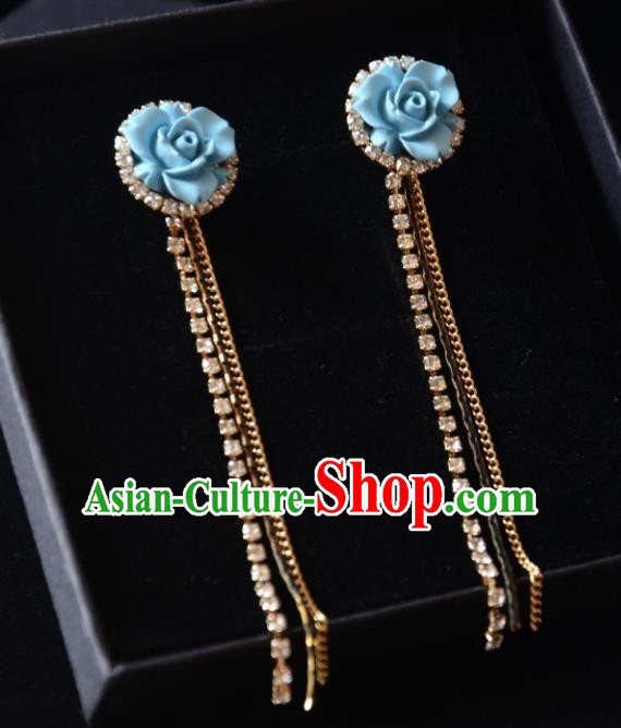 European Western Bride Vintage Accessories Eardrop Renaissance Blue Flower Earrings for Women