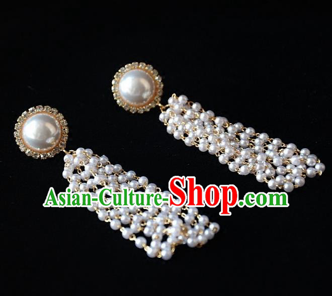 European Western Bride Vintage Accessories Pearls Eardrop Renaissance Crystal Earrings for Women