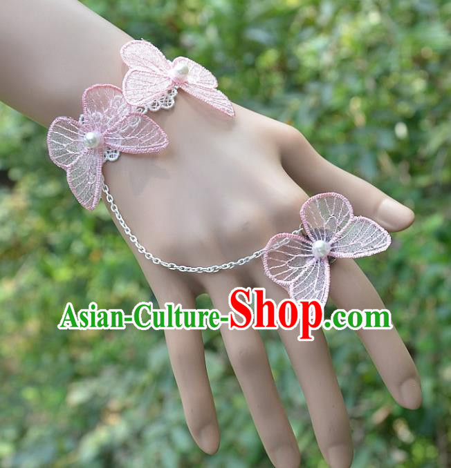 European Western Bride Wrist Accessories Vintage Renaissance Pink Butterfly Bracelet with Ring for Women