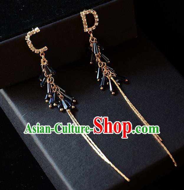 European Western Bride Vintage Accessories Blue Crystal Eardrop Renaissance Earrings for Women