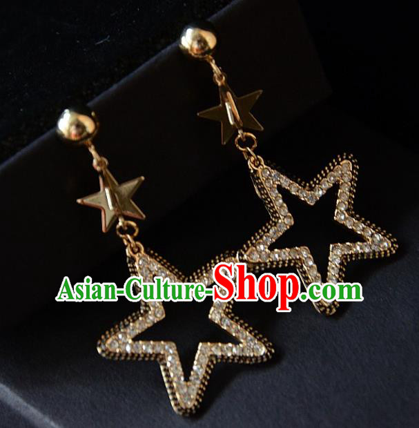 European Western Bride Vintage Accessories Crystal Star Eardrop Renaissance Earrings for Women