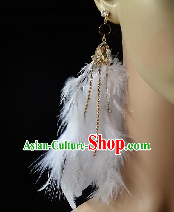 European Western Bride Vintage Accessories White Feather Crystal Eardrop Renaissance Earrings for Women
