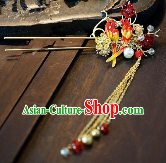 Chinese Handmade Classical Hair Accessories Ancient Hanfu Birds Hairpins for Women