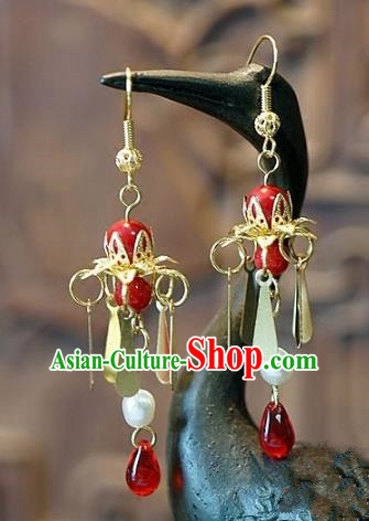 Asian Chinese Traditional Handmade Jewelry Accessories Eardrop Red Tassel Earrings for Women