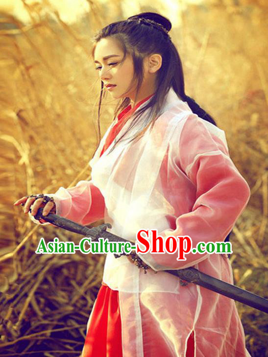 China Ancient Swordswoman Embroidered Costume A Chinese Odyssey Faery Dress for Women