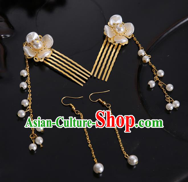 Handmade Chinese Ancient Hair Accessories Pearls Hair Combs Hairpins for Women