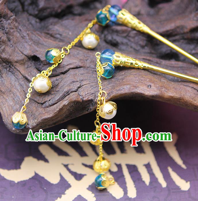 Handmade Chinese Ancient Hair Accessories Blue Beads Tassel Step Shake Hairpins for Women