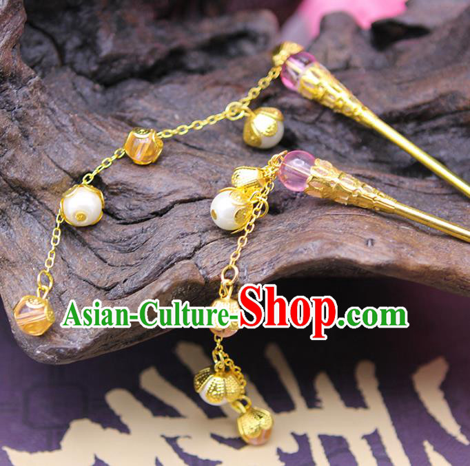 Handmade Chinese Ancient Hair Accessories Pink Beads Tassel Step Shake Hairpins for Women