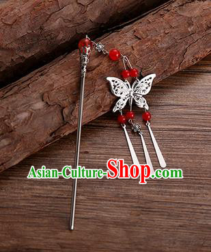 Handmade Chinese Ancient Princess Hair Accessories Red Beads Butterfly Hairpins for Women