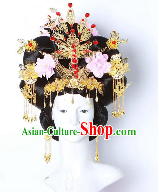 Handmade Chinese Ancient Palace Lady Hair Accessories Wig and Phoenix Coronet Hairpins Complete Set for Women