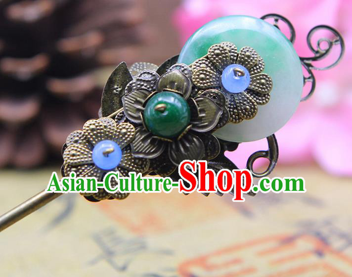 Handmade Chinese Ancient Palace Lady Hair Accessories Hanfu Jade Hairpins for Women