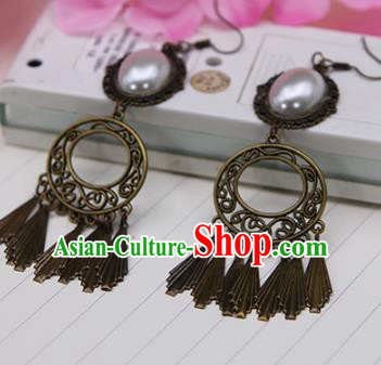 Handmade Chinese Ancient Palace Lady Accessories Hanfu Tassel Earrings for Women