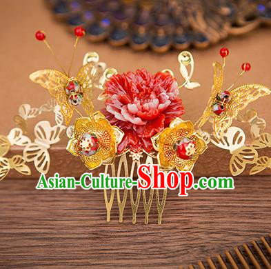 Handmade Chinese Ancient Palace Lady Hair Accessories Hanfu Butterfly Peony Hair Comb Hairpins for Women