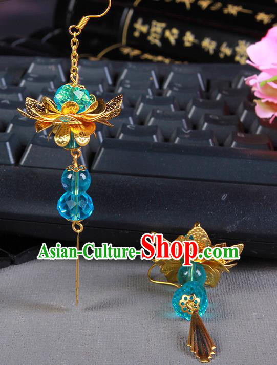 Handmade Chinese Ancient Palace Lady Accessories Hanfu Blue Beads Lotus Earrings for Women