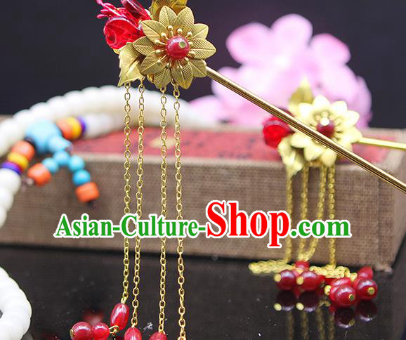 Handmade Chinese Ancient Palace Lady Hair Accessories Hanfu Red Beads Tassel Hairpins for Women