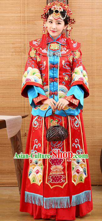 Traditional Ancient Chinese Costume Bride Xiuhe Suits Wedding Dress Embroidered Red Toast Clothing for Women