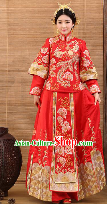 Traditional Ancient Chinese Costume Red Xiuhe Suits Wedding Embroidered Clothing for Women