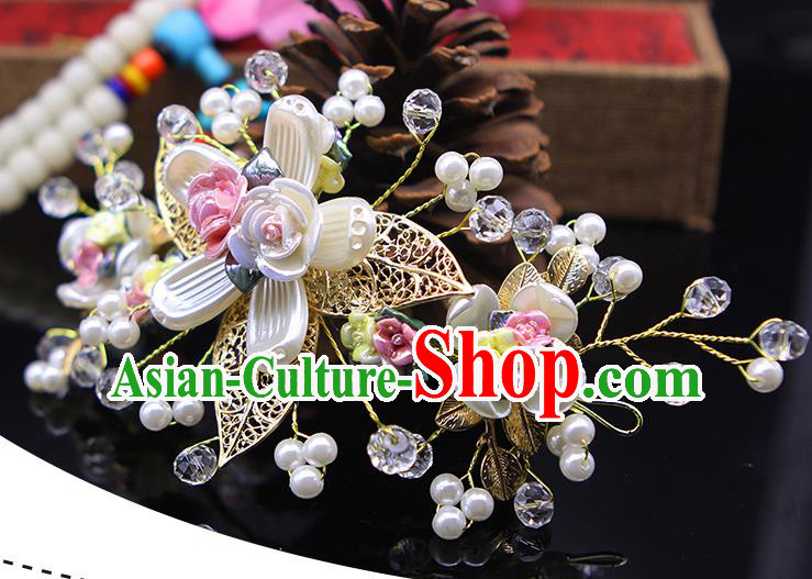 Handmade Chinese Ancient Palace Lady Hair Accessories Hanfu Hairpins Flowers Hair Stick for Women