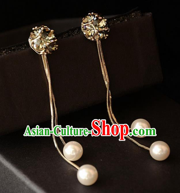 European Western Bride Vintage Crystal Pearl Eardrop Accessories Renaissance Earrings for Women