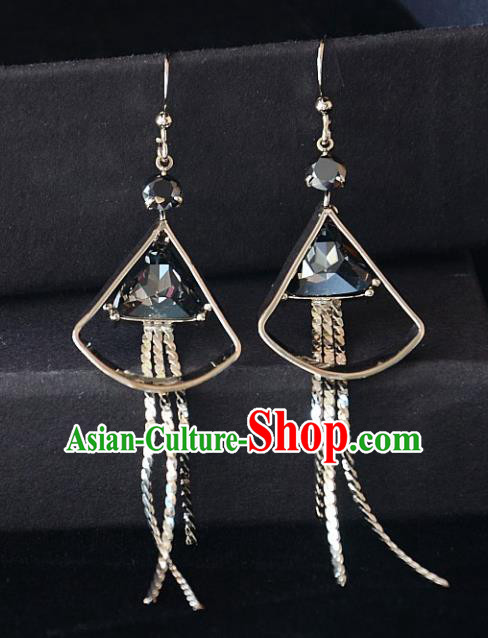 European Western Bride Vintage Grey Crystal Eardrop Accessories Renaissance Earrings for Women